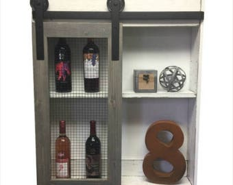 ON SALE Rustic Liquor Cabinet-Liquor Cabinet-Wine Storage-Industrial Liquor-Home Bar-Rustic Cabinet-Country Kitchen-Wall-Wine Rack-wall cabi