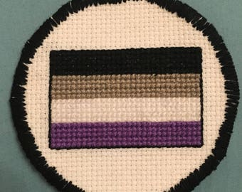"""Asexual Pride Flag Iron-On Patch - Handmade Cross Stitch - Ace Pride - LGBTQA+ Pride - 3"""" Iron on Patch"""
