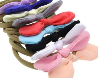 SET OF 10 knot headbands lot 1 size fits all, comfy baby newborn girls hair, nylon wraps, cotton bows