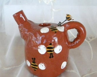 Summer Sale Cute Red Clay Teapot Vase, Bees, White, Yellow, Black, Terra Cotta, Cute Shabby Chic Home Decor