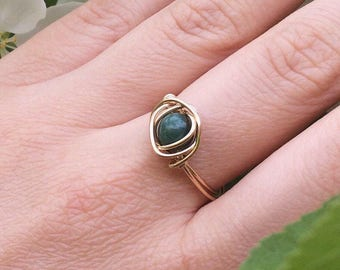 14k Gold Jade Ring, Wire Wrapped Ring, Size 8
