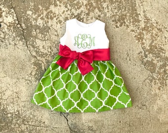 Little girls Christmas Dress, monogram baby girl clothes, toddler christmas outfit for girl, Lime green and red dress, family pictures