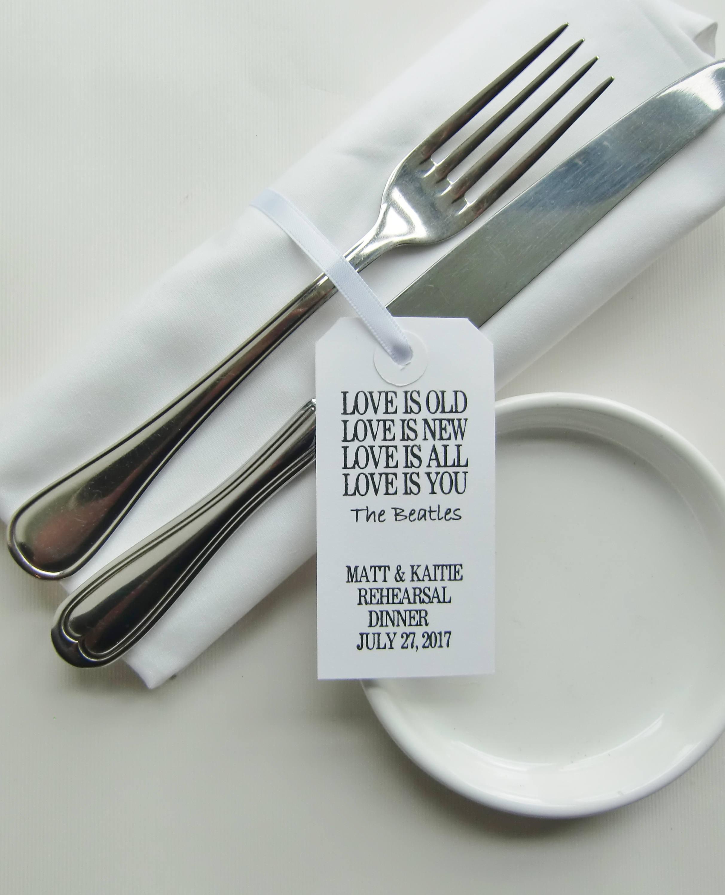 Rehearsal Dinner Table Rehearsal Napkin Ties BEATLES POEM Personalised  White Tags Wedding