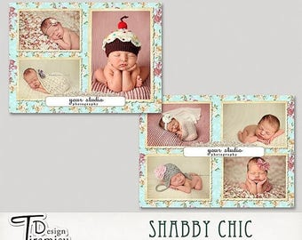 ON SALE Birth Announcement Card 7x5 Photography Photoshop Template,Shabby Chic,  Marketing Card