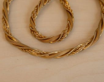 Vintage Goldette NY Signed Multi Strand Braided Twisted Gold Tone Rope Necklace and Bracelet Set