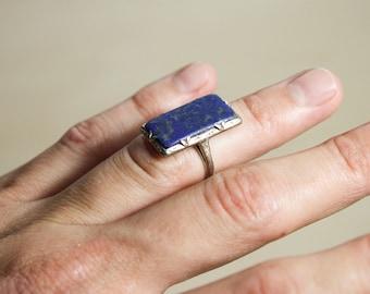 Vintage Art Deco 14K White Gold Lapis Lazuli Ring Size 4
