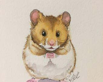 "Original 6""x9"" watercolor painting teddy bear hamster nursery art decor children's cute animals"