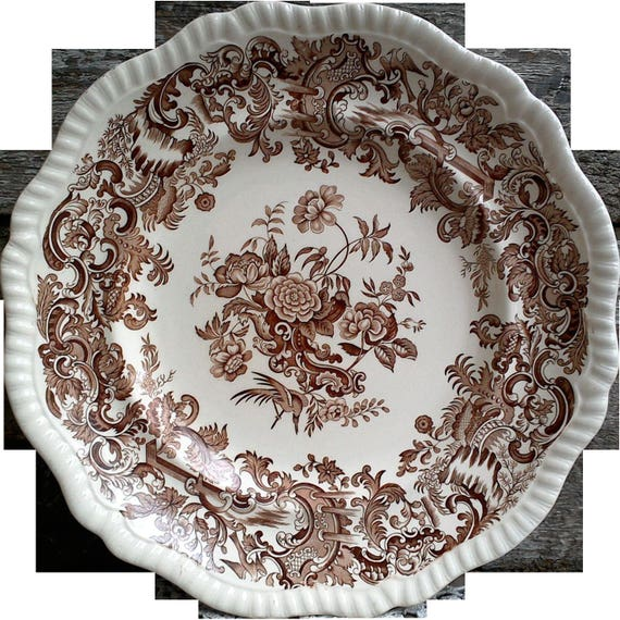 "Antique Dinner Plate, COPELAND SPODE 10 3/4"" Plate, Floral, Scalloped Edge, Brown Transferware, Ironstone, Embossed, 1920s"