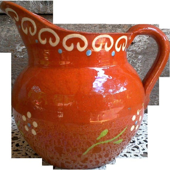 Portuguese Red Clay Hand Painted Traditional Art Pottery Pitcher Milk Juice