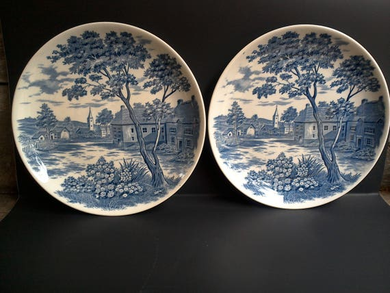 Set of 2 Blue Transferware Dinner/Cabinet Plates, Japan