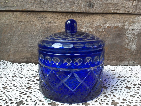 Vintage Colbalt Blue Cut Glass Covered Dish Candy Dish Holiday Dish Criss Cross Diamond Pattern