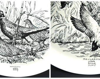 Flying Mallards and Pheasants Lynn Brogue Hunt Mid Century Decorative Plates