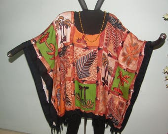 Palm Trees Aloha One Size Tunic Poncho or Dress - Cinnamon Green Black - Indonesian fabric with fringe