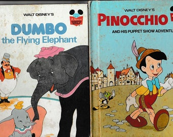 Dumbo and Pinocchio - Two Walt Disney Classics - Vintage Childrens Books - Hardback, Two Small format books