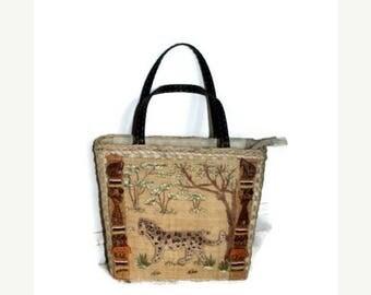 Vintage straw purse African Safari purse Capelli Vintage Animal Purse Leopard Jungle beaded