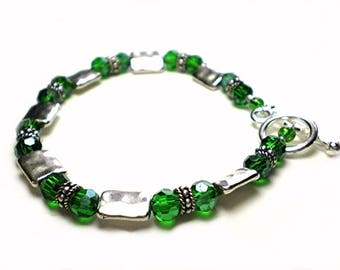 Emerald green bracelet - emerald crystal & silver metal bracelet, 8 1/2 inch bracelet, silver and green jewelry, toggle clasp, wire strung