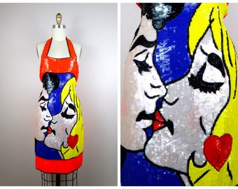 POP ART Glamour Sequin Dress / RARE Neon Novelty Portrait Sequined Party Dress Small