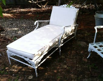 Metal Outdoor Furniture Chaise Lounge Recliner Chair Daybed Vintage Garden  Patio Decor Aluminum Frame Floral Cornice