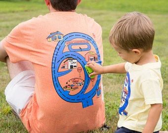 Matching Shirts Dad & Son -FREE Ship- Gift for Dad From Son Race Track. Race Car Road Map T Shirt Car Play Mat on Back of Shirt
