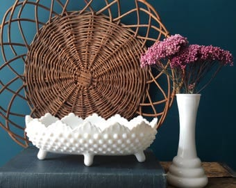 vintage milk glass hobnail oval footed bowl planter
