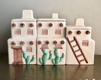 vintage ceramic Southwestern canisters adobe boho kitchen decor