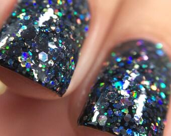 Kneel Before Zod Nail Polish - holographic black glitter bomb