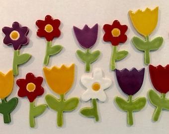 NEW! Handmade ceramic flower tiles with a stem.