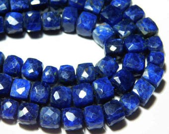 """AAA-Sodalite Faceted BIG Cube Briollets- 8""""Strand -Stones measure- 8mm"""