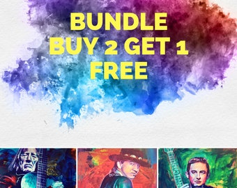 "Bundle Buy 2 Get 1 Free Willie Stevie Cash 12""x18"" Austin Texas Poster Musician Guitar Celebrity Print Wall Art Colorful Abstract Pop Art"