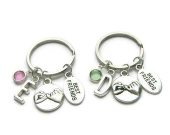 2 Best Friends Pinky Promise Keychains, Pinky Promise Keychains, Best Friends Keychains, BFF Keychains, Birthstone Keychains, Personalized