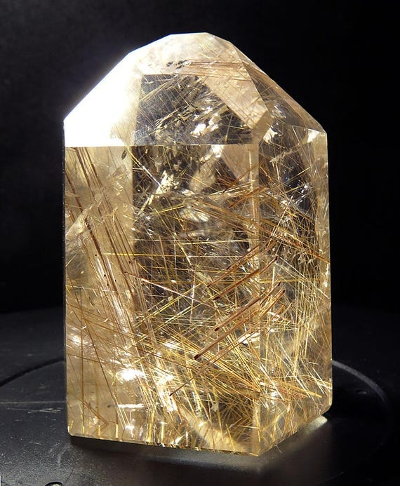 Top Grade Perfect Polished Golden Rutile Quartz Crystal. Brazil Collection of M. Hume