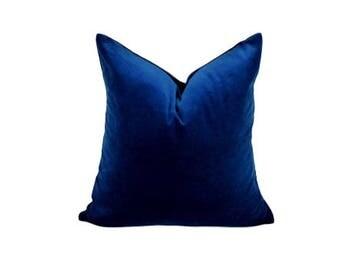 sapphire blue velvet pillow case // blue velvet cushion case // dark blue velvet pillow