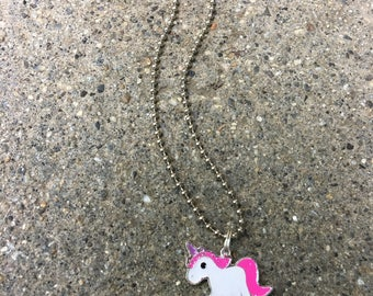 Dainty charm necklace unicorn jewelry kids necklaces ball chain rainbow robot pineapple charms
