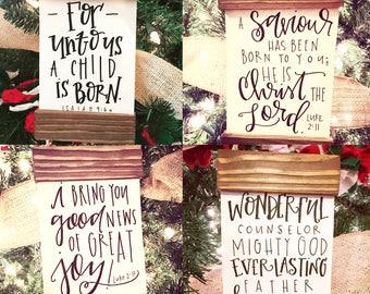 Rustic Scroll Bible Verses Christmas Ornaments