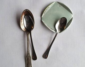 Ceramic Spoon Rest, Medium Blue Spoon Rest, Small Trinket Dish