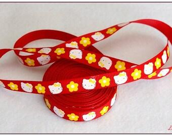 0.77 centimeter kitty flower 10mm Ribbon