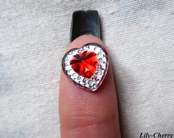 Cabochon 12mm heart red rhinestone silver diamond x 1