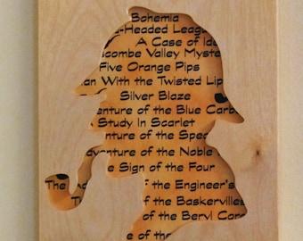 Sherlock Holmes Story Portrait Cut From Wood