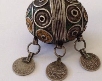 Antique Silver Enamel Moroccan Berber Ethnic Tribal Focal Egg BEAD- Coin Dangles