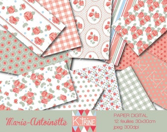 "Digital ""Marie-Antoinette"" set of 12 paper sheets to print"