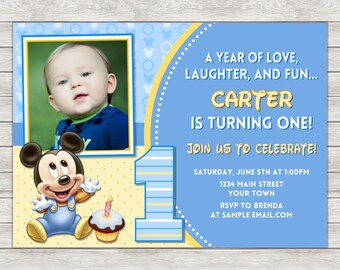 Mickey Mouse 1st Birthday Invitation, Mickey Mouse Birthday Invitation (Available As Printable File or Printed Invitations)