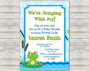 Frog Baby Shower Invitation, Boy Baby Shower Invitation (Available As Printable File or Printed Invitations)