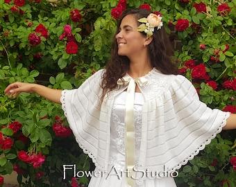 Ivory Wedding Wrap Bridal Shawl Bridal Cover Up Wedding Bolero Ivory Shrug Crochet Shawl Ivory Knitted Capelet Bridal Cape Bridesmaid Shawl