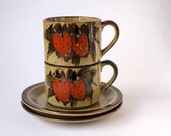 Vintage Stoneware Cup Sets, Strawberry Design Retro 70s Tea or Coffee Cups.