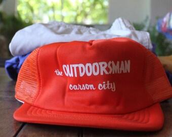 Vintage Orange Outdoorsman Carson City Nevada 1980s Trucker Hat