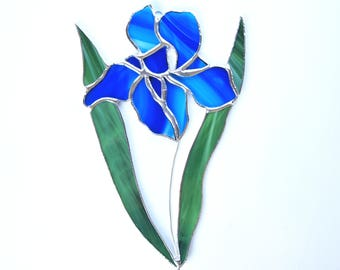 Stained Glass Iris Flower Suncatcher