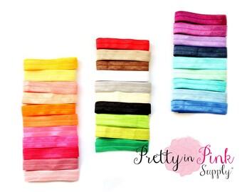 SOLID Elastic Grab Bag- Fold Over Elastic- FOE- You Choose Yards- We Choose Colors