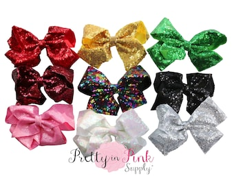 "7"" HUGE SEQUIN Bows NEW- You Choose Quantity and Colors...Sequin Bow ...Large Bows Wholesale...Big Bow..Sequin Bow Cheer..Cheer leading"