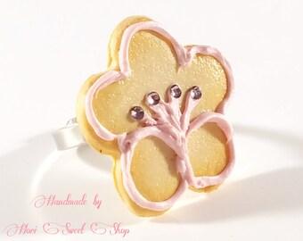 Ume/ Plum Blossom Cookie Adjustable Ring, Kawaii Polymer Clay Japanese Sweets, Fake Food Jewelry, Sweet Lolita, Fairy Kei, Sweets Deco