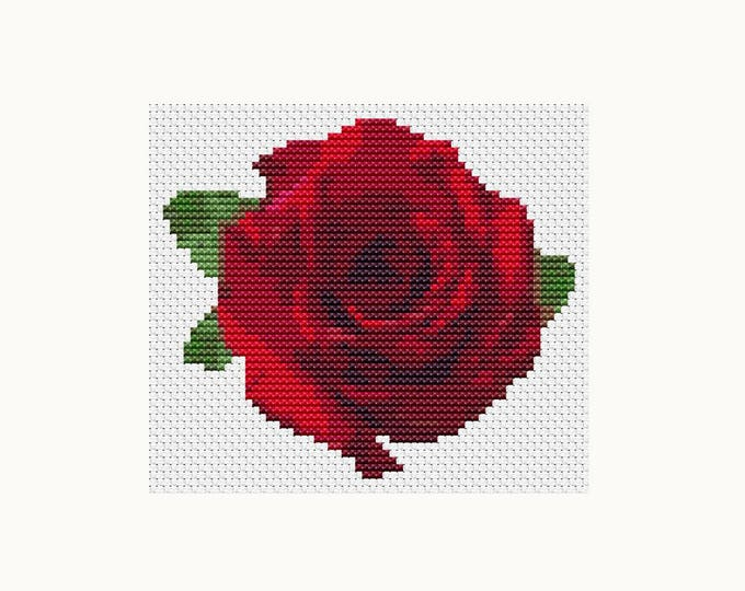 Mini Cross Stitch Pattern PDF, Embroidery Chart, Art Cross Stitch, Floral Cross Stitch, Flower Series: Red Rose (TAS123)